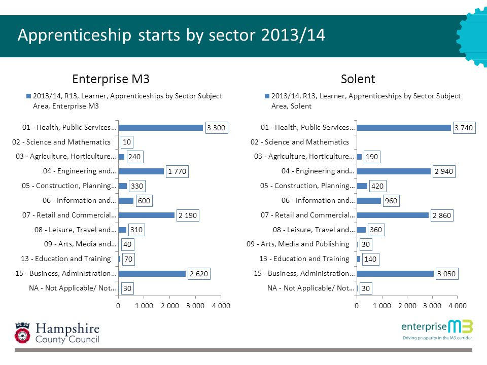Apprenticeship starts by sector 2013/14 Enterprise M3Solent