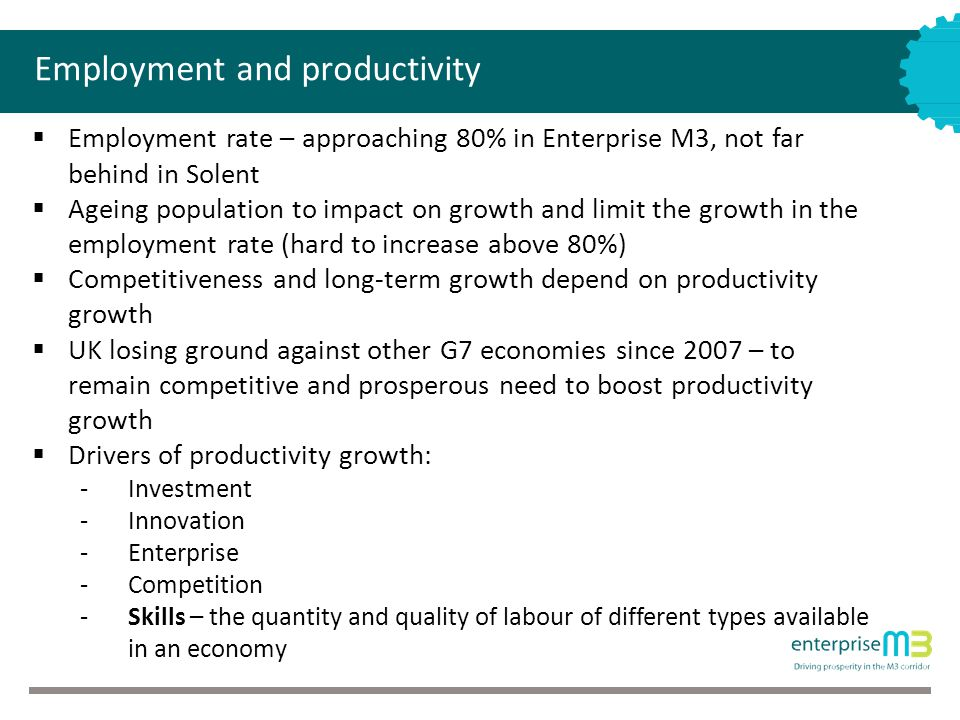 Employment and productivity  Employment rate – approaching 80% in Enterprise M3, not far behind in Solent  Ageing population to impact on growth and