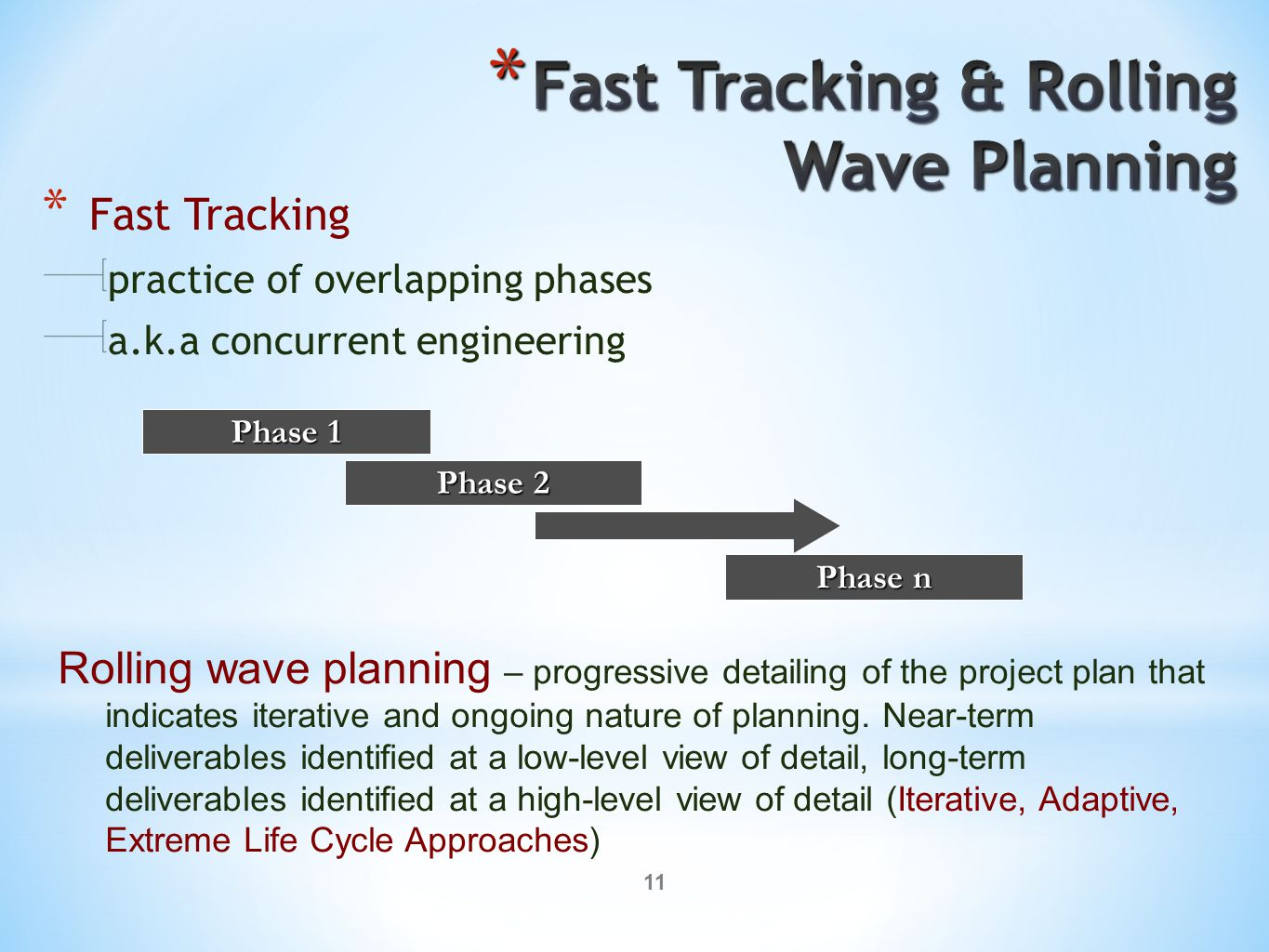 11 * Fast Tracking practice of overlapping phases a.k.a concurrent engineering Phase 1 Phase 2 Phase n Rolling wave planning – progressive detailing o