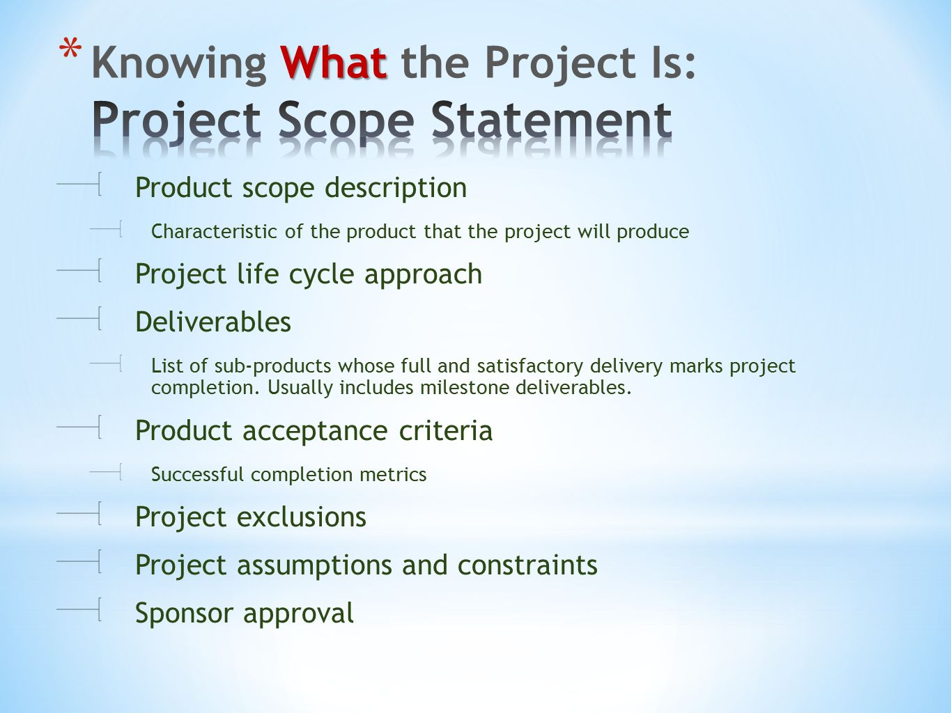 Product scope description Characteristic of the product that the project will produce Project life cycle approach Deliverables List of sub-products whose full and satisfactory delivery marks project completion.