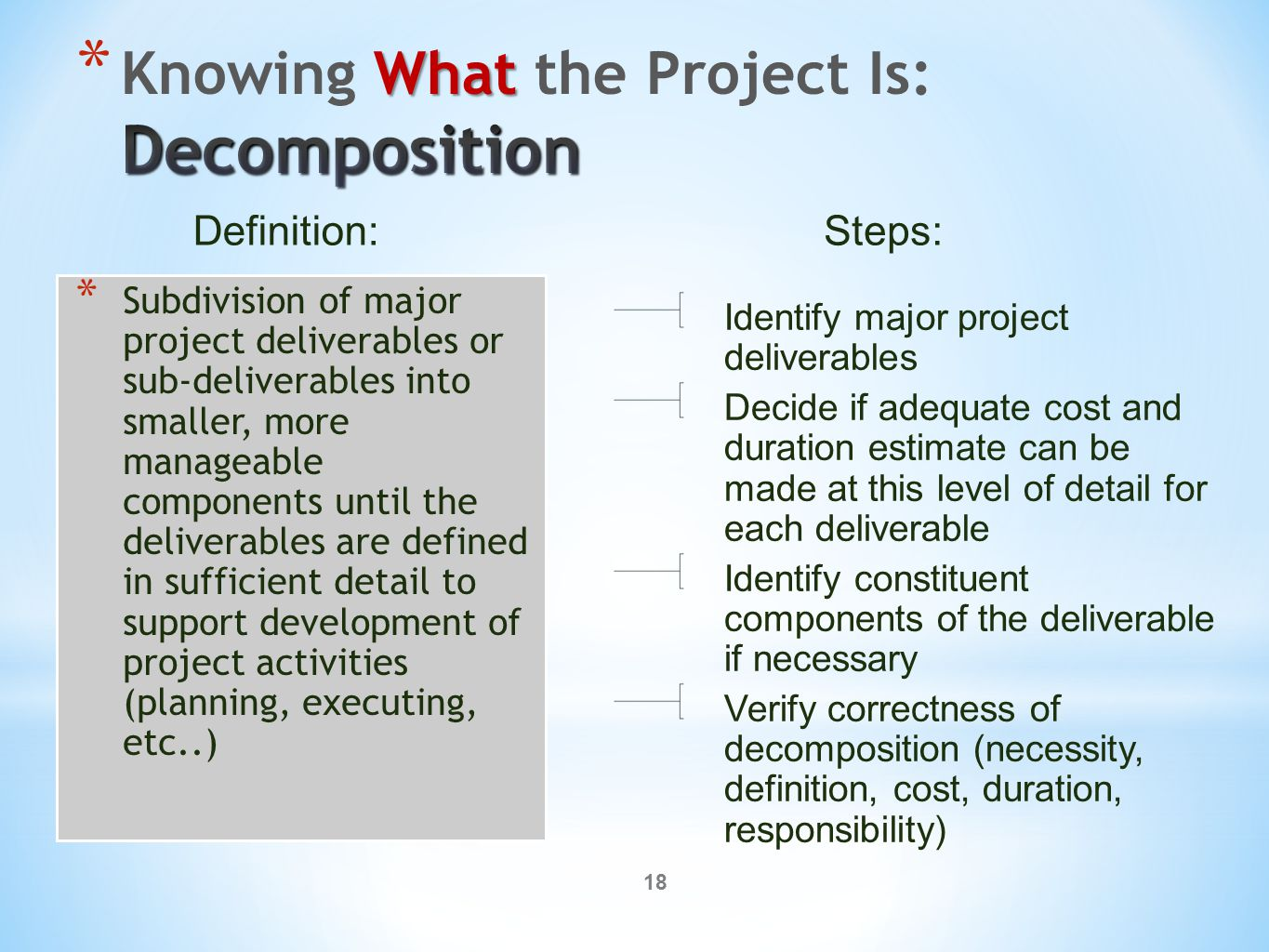18 * Subdivision of major project deliverables or sub-deliverables into smaller, more manageable components until the deliverables are defined in sufficient detail to support development of project activities (planning, executing, etc..) Identify major project deliverables Decide if adequate cost and duration estimate can be made at this level of detail for each deliverable Identify constituent components of the deliverable if necessary Verify correctness of decomposition (necessity, definition, cost, duration, responsibility) Definition:Steps: