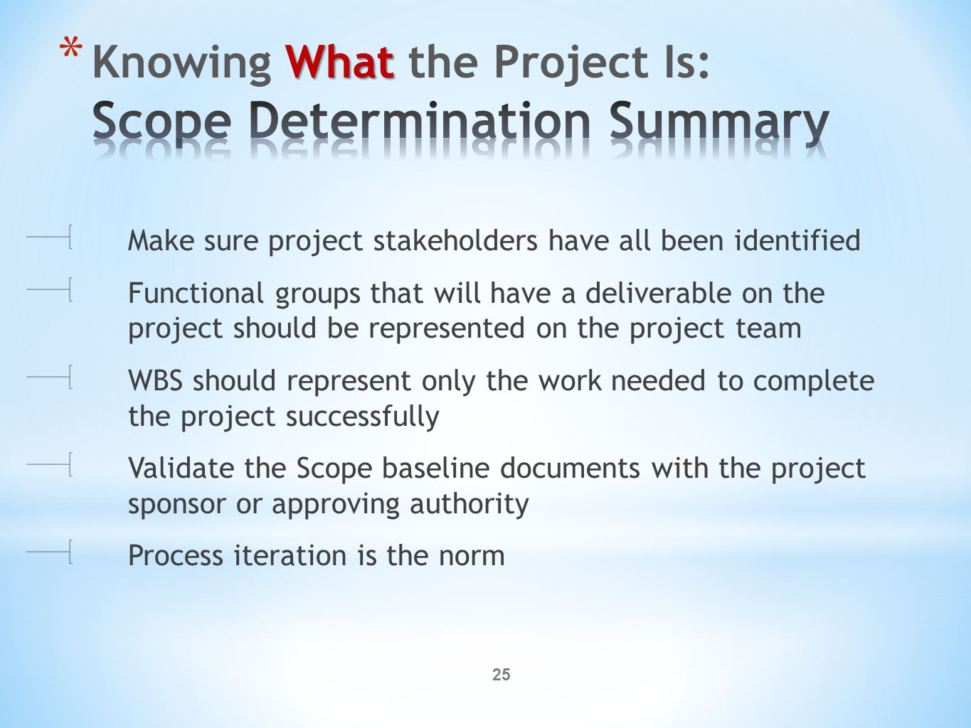 25 Make sure project stakeholders have all been identified Functional groups that will have a deliverable on the project should be represented on the