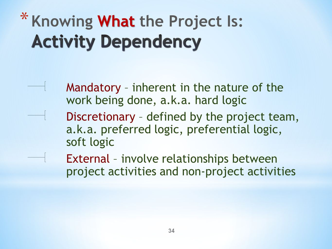34 Mandatory – inherent in the nature of the work being done, a.k.a. hard logic Discretionary – defined by the project team, a.k.a. preferred logic, p