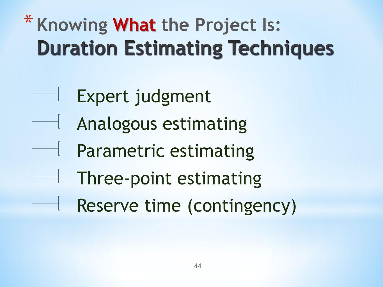 44 Expert judgment Analogous estimating Parametric estimating Three-point estimating Reserve time (contingency)