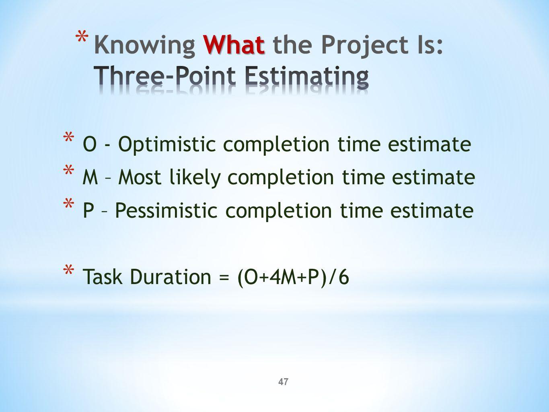 47 * O - Optimistic completion time estimate * M – Most likely completion time estimate * P – Pessimistic completion time estimate * Task Duration = (O+4M+P)/6