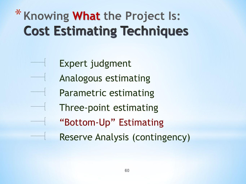60 Expert judgment Analogous estimating Parametric estimating Three-point estimating Bottom-Up Estimating Reserve Analysis (contingency)