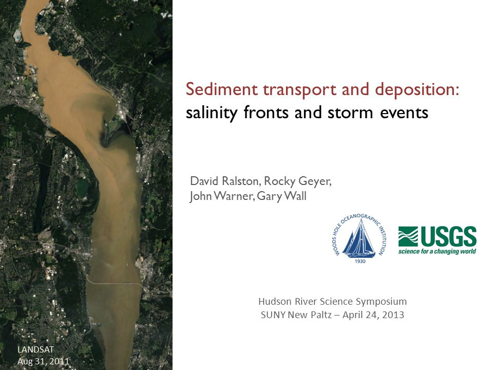 LANDSAT Aug 31, 2011 Sediment transport and deposition: salinity fronts and storm events David Ralston, Rocky Geyer, John Warner, Gary Wall Hudson Riv