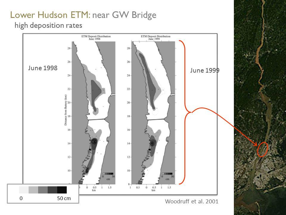 NYC Atlantic Ocean Lower Hudson ETM: near GW Bridge high deposition rates June 1998 0 50 cm Woodruff et al.