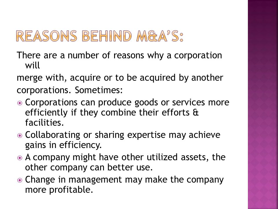  M&A's are governed by both state & federal laws.