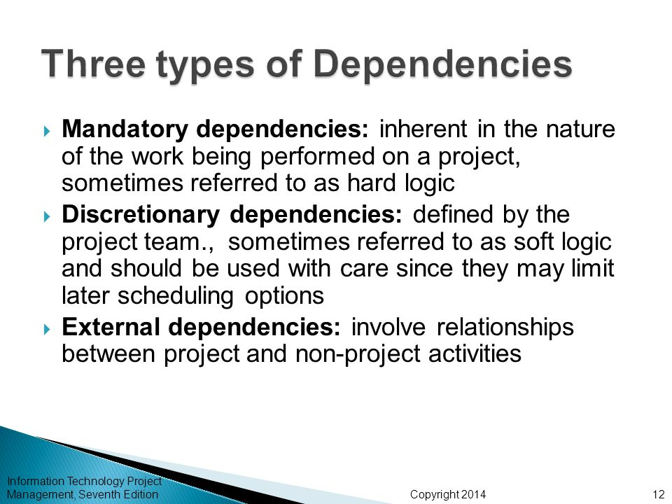 Copyright 2014 Information Technology Project Management, Seventh Edition  Mandatory dependencies: inherent in the nature of the work being performed