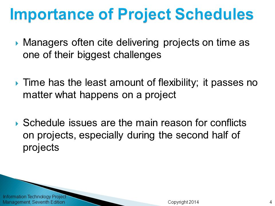 Copyright 2014 Information Technology Project Management, Seventh Edition  Managers often cite delivering projects on time as one of their biggest ch