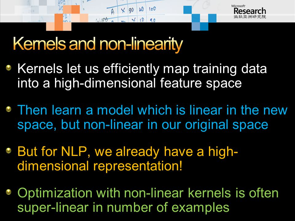 Kernels let us efficiently map training data into a high-dimensional feature space Then learn a model which is linear in the new space, but non-linear