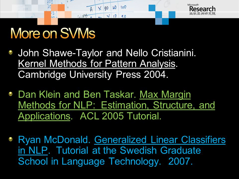 John Shawe-Taylor and Nello Cristianini. Kernel Methods for Pattern Analysis. Cambridge University Press 2004. Dan Klein and Ben Taskar. Max Margin Me