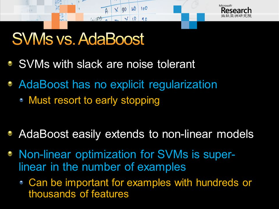 SVMs with slack are noise tolerant AdaBoost has no explicit regularization Must resort to early stopping AdaBoost easily extends to non-linear models Non-linear optimization for SVMs is super- linear in the number of examples Can be important for examples with hundreds or thousands of features