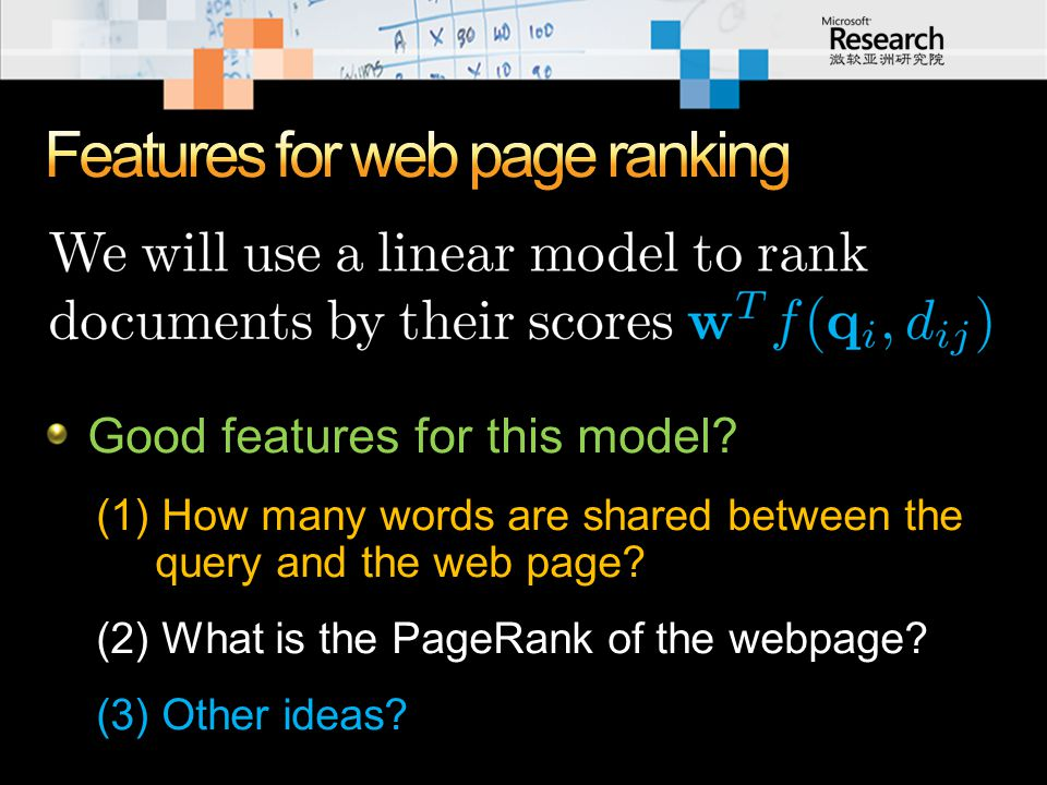 Good features for this model? (1) How many words are shared between the query and the web page? (2) What is the PageRank of the webpage? (3) Other ide
