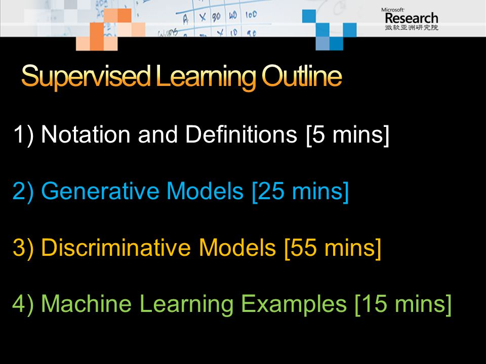 1) Notation and Definitions [5 mins] 2) Generative Models [25 mins] 3) Discriminative Models [55 mins] 4) Machine Learning Examples [15 mins]