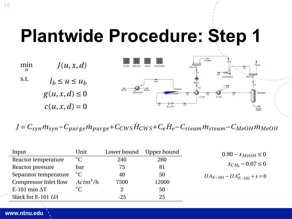 10 Plantwide Procedure: Step 1