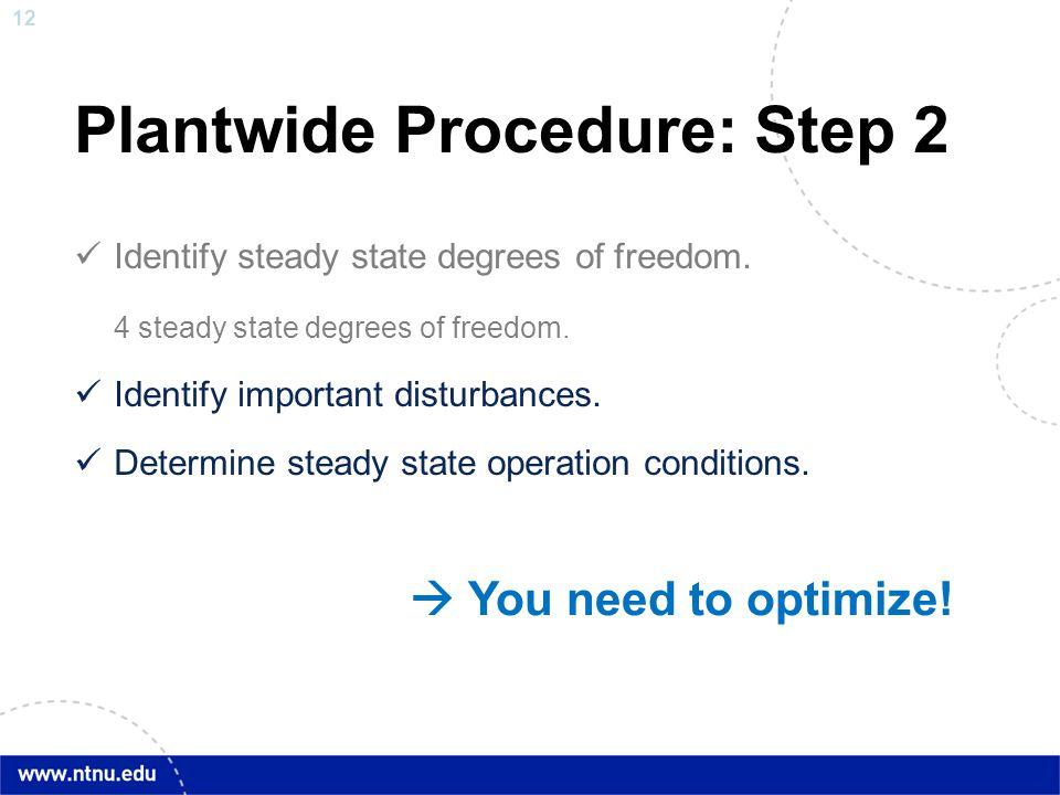 12 Plantwide Procedure: Step 2 Identify steady state degrees of freedom. 4 steady state degrees of freedom. Identify important disturbances. Determine