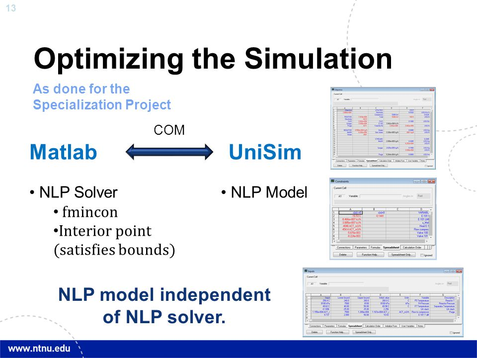 13 Optimizing the Simulation MatlabUniSim NLP Solver fmincon Interior point (satisfies bounds) NLP Model COM As done for the Specialization Project NL