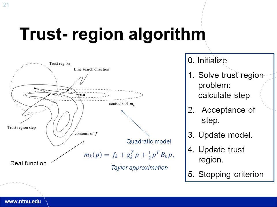21 Trust- region algorithm Quadratic model Real function 0. Initialize 1.Solve trust region problem: calculate step 2.Acceptance of step. 3.Update mod