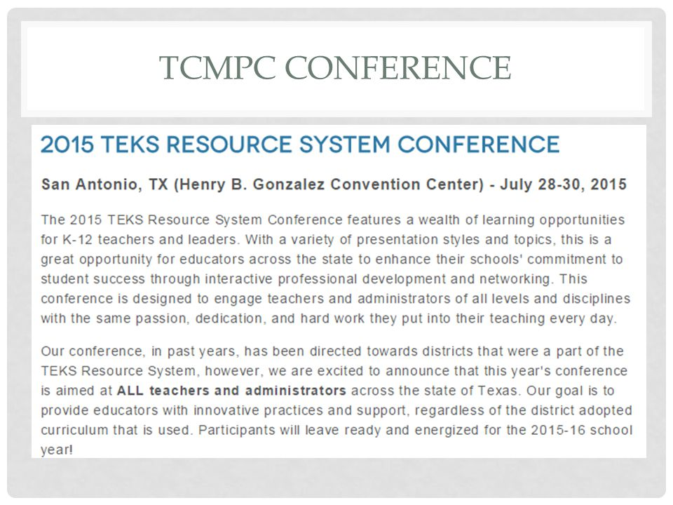 TCMPC CONFERENCE
