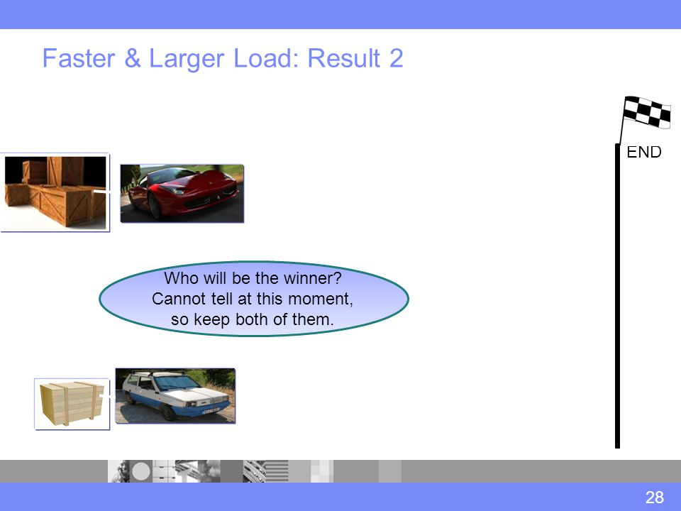 Faster & Larger Load: Result 2 28 END Who will be the winner.