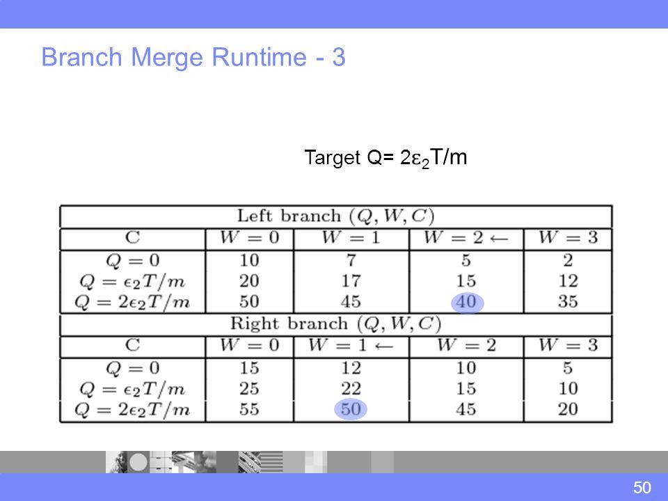 Branch Merge Runtime - 3 50 Target Q= 2 ɛ 2 T/m
