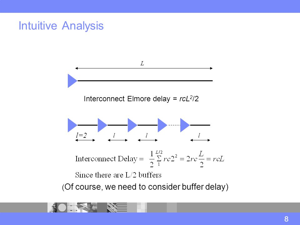 Intuitive Analysis 8 Interconnect Elmore delay = rcL 2 /2 l=2 lll L ( Of course, we need to consider buffer delay)