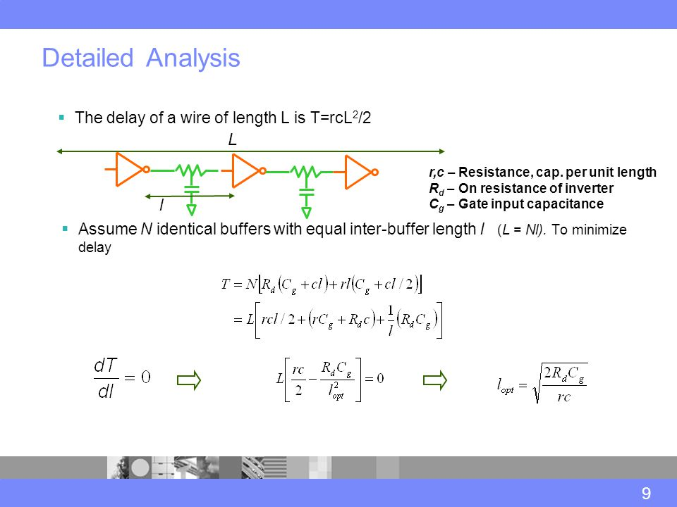  The delay of a wire of length L is T=rcL 2 /2 Detailed Analysis 9 L r,c – Resistance, cap.