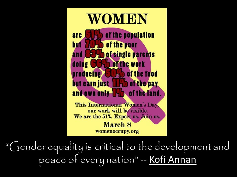 Gender equality is critical to the development and peace of every nation -- Kofi Annan