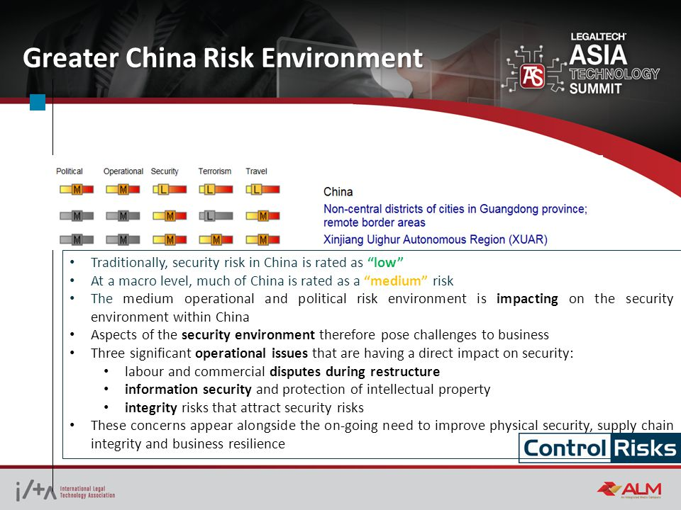 Greater China Risk Environment Traditionally, security risk in China is rated as low At a macro level, much of China is rated as a medium risk The medium operational and political risk environment is impacting on the security environment within China Aspects of the security environment therefore pose challenges to business Three significant operational issues that are having a direct impact on security: labour and commercial disputes during restructure information security and protection of intellectual property integrity risks that attract security risks These concerns appear alongside the on-going need to improve physical security, supply chain integrity and business resilience