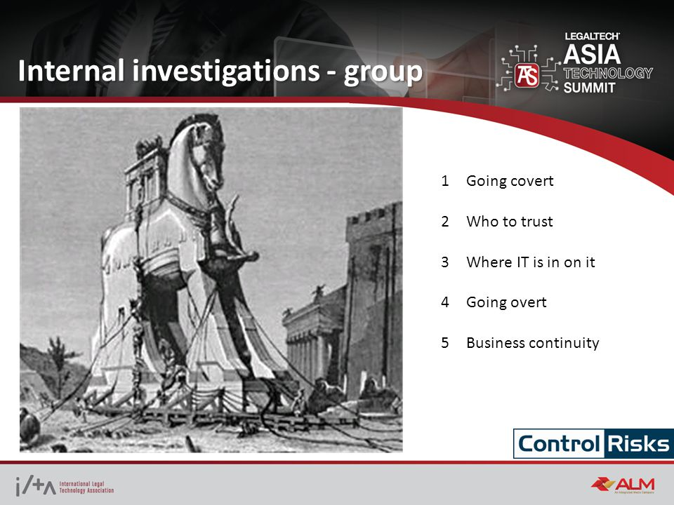 Internal investigations - group 1Going covert 2Who to trust 3Where IT is in on it 4Going overt 5Business continuity