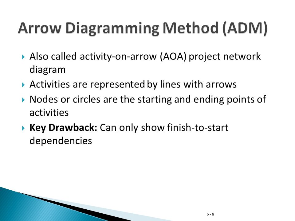 6 - 9 Lines with arrows represent tasks Circles with words or numbers represent the begin or end of a task