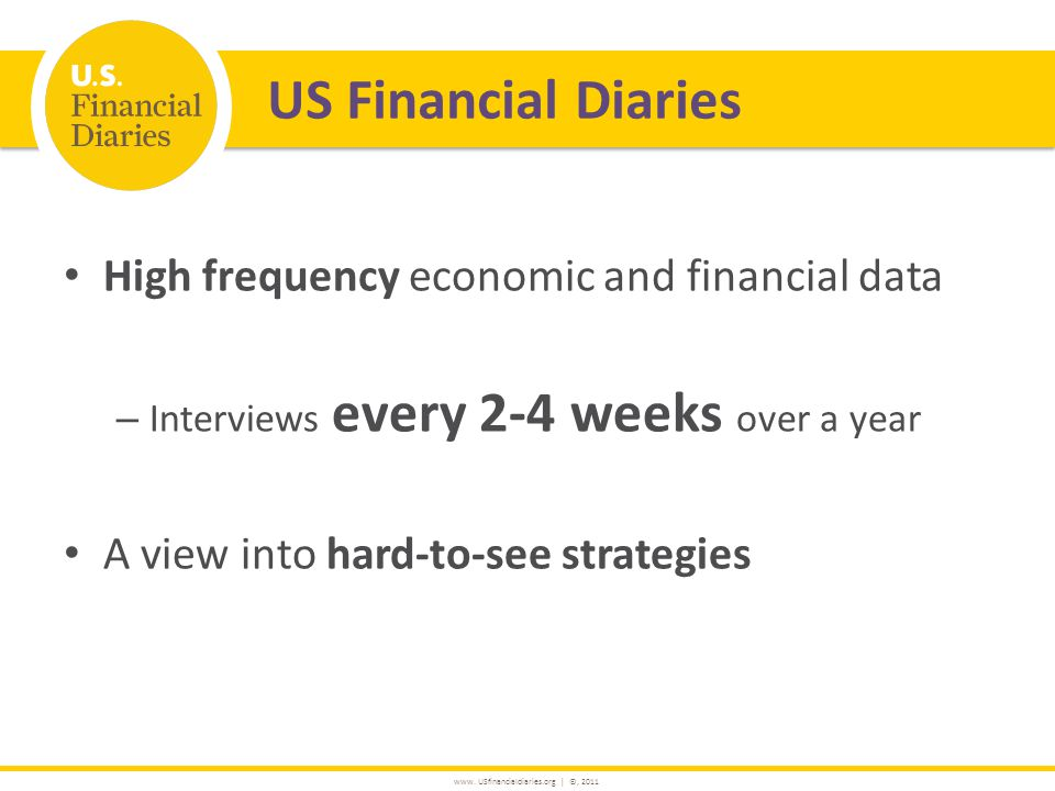 www. USfinancialdiaries.org | ©, 2011 High frequency economic and financial data – Interviews every 2-4 weeks over a year A view into hard-to-see stra
