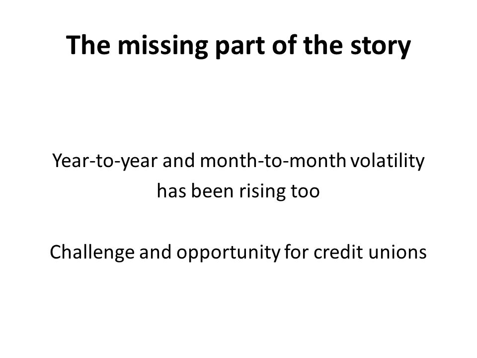 The missing part of the story Year-to-year and month-to-month volatility has been rising too Challenge and opportunity for credit unions