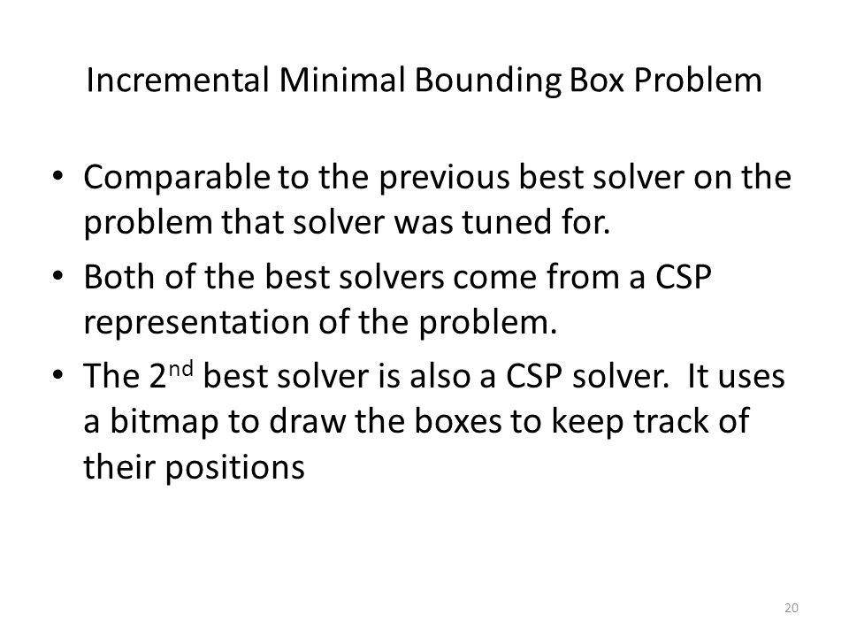 Incremental Minimal Bounding Box Problem Comparable to the previous best solver on the problem that solver was tuned for.