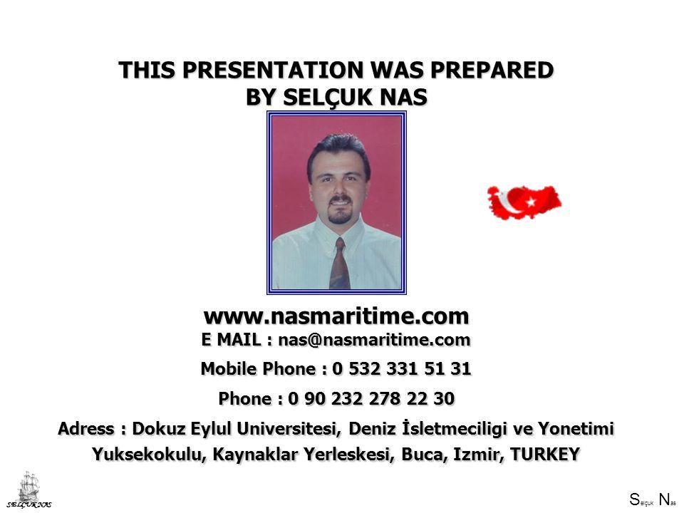 S elçuk N as SELÇUK NAS THIS PRESENTATION WAS PREPARED BY SELÇUK NAS www.nasmaritime.com E MAIL : nas@nasmaritime.com Mobile Phone : 0 532 331 51 31 Phone : 0 90 232 278 22 30 Adress : Dokuz Eylul Universitesi, Deniz İsletmeciligi ve Yonetimi Yuksekokulu, Kaynaklar Yerleskesi, Buca, Izmir, TURKEY
