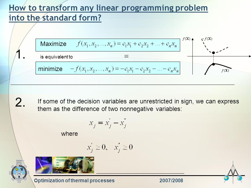 Optimization of thermal processes2007/2008 How to transform any linear programming problem into the standard form.