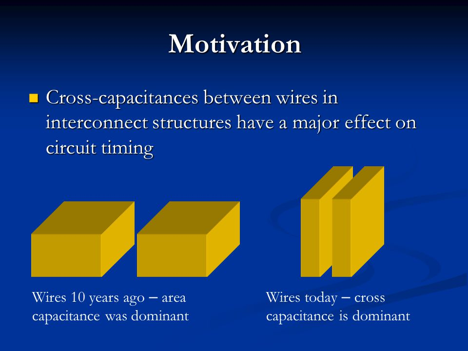 Motivation Cross-capacitances between wires in interconnect structures have a major effect on circuit timing Cross-capacitances between wires in inter