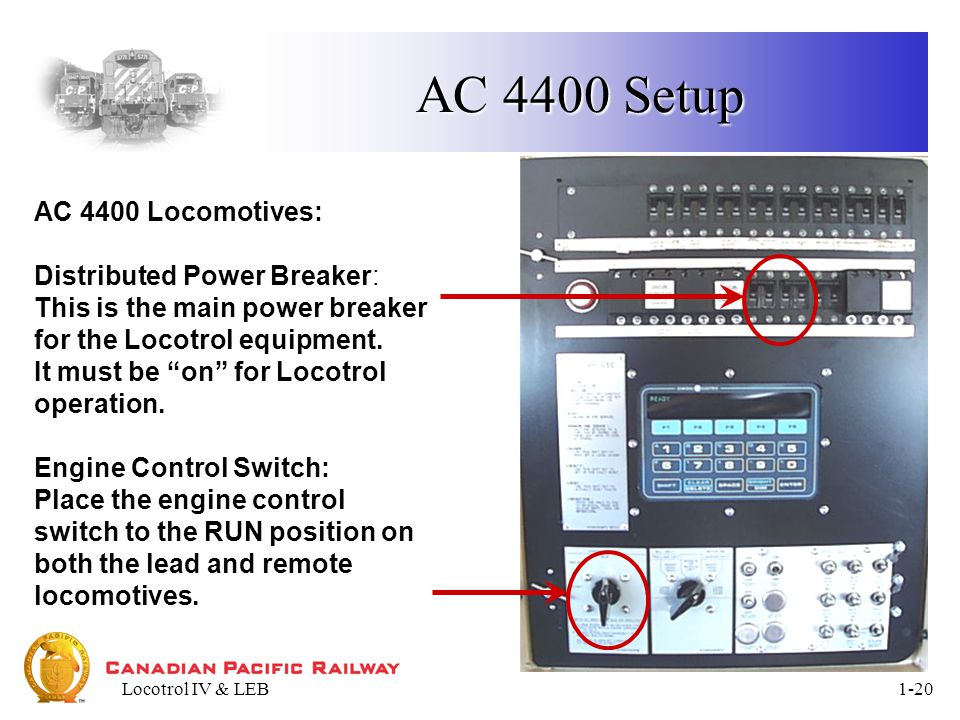 Locotrol IV & LEB1-20 AC 4400 Setup AC 4400 Locomotives: Distributed Power Breaker: This is the main power breaker for the Locotrol equipment.