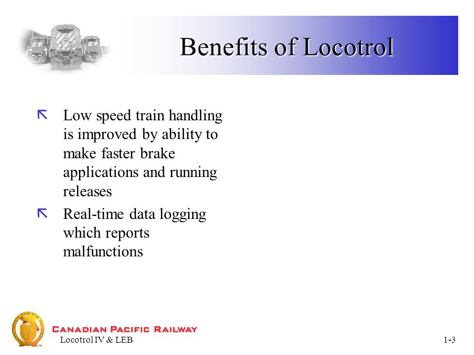 Locotrol IV & LEB1-14 TRAIN KEY: Brake Pipe Brake Pipe - Data Display