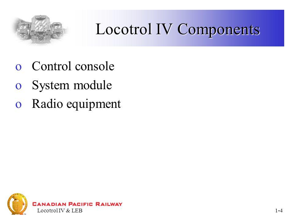 Locotrol IV & LEB1-15 TRAIN KEY: Unit Data Unit Data – Data Display