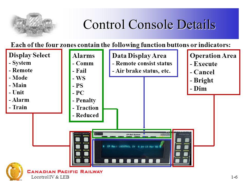 Locotrol IV & LEB1-7 SYSTEM KEY Figure 4 - System Data Display System Data Display
