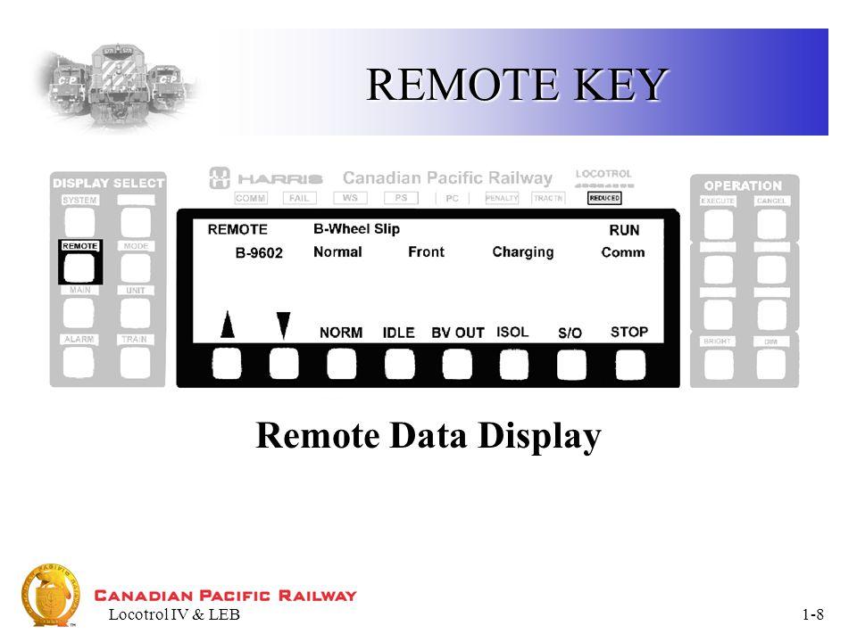 Locotrol IV & LEB1-9 MODE KEY Mode Data Display