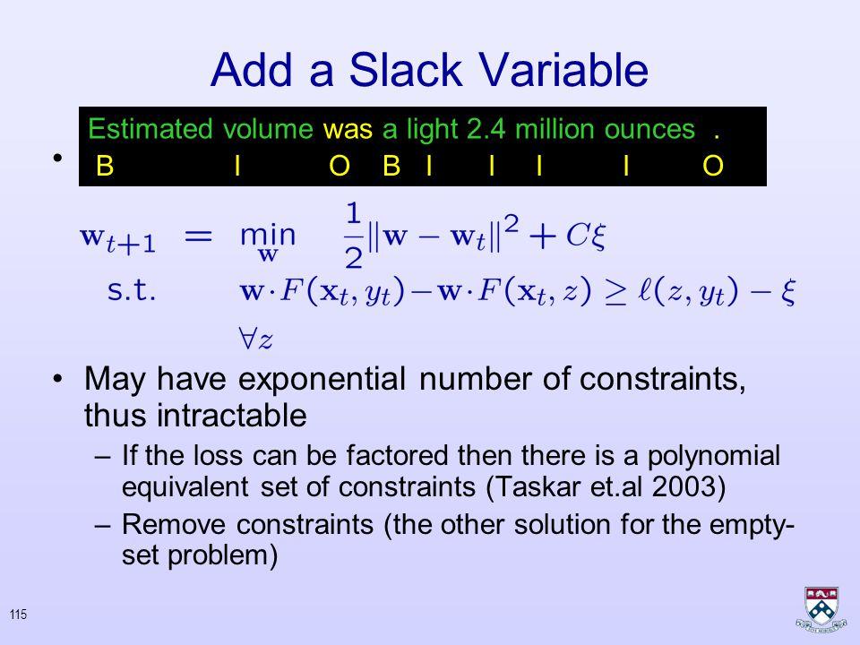 114 Add a Slack Variable Add a slack variable : Rewrite the optimization : Generalized Hinge Loss