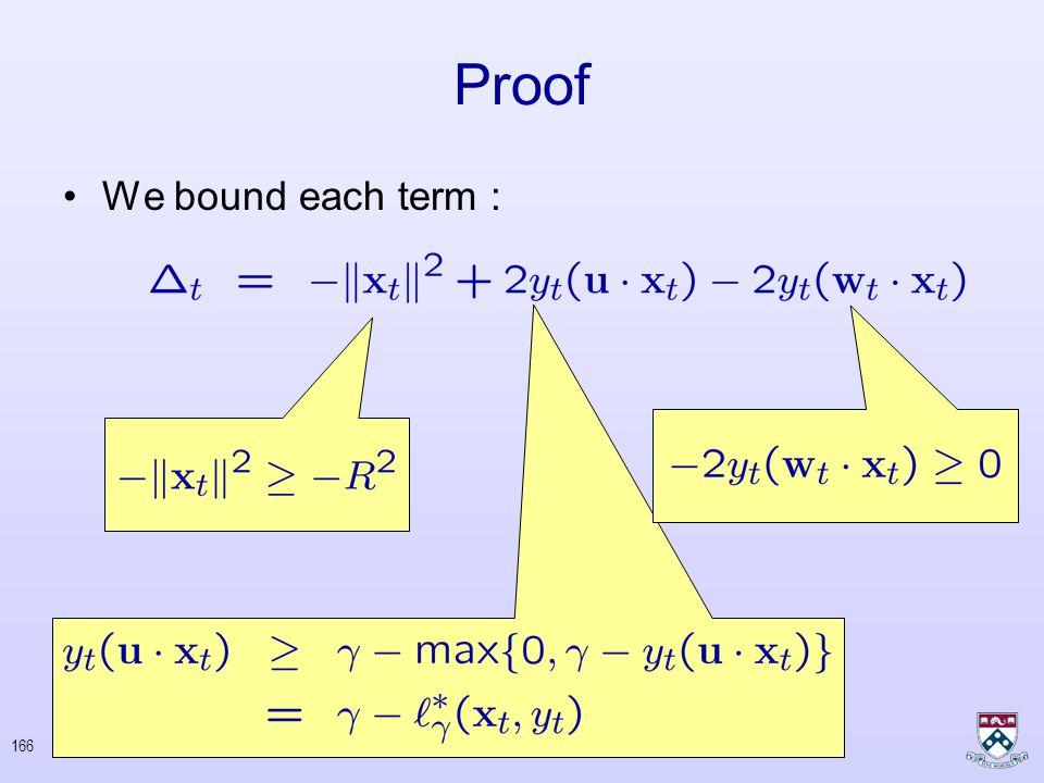 165 Proof Bound From Below : –No error on t th round –Error on t th round