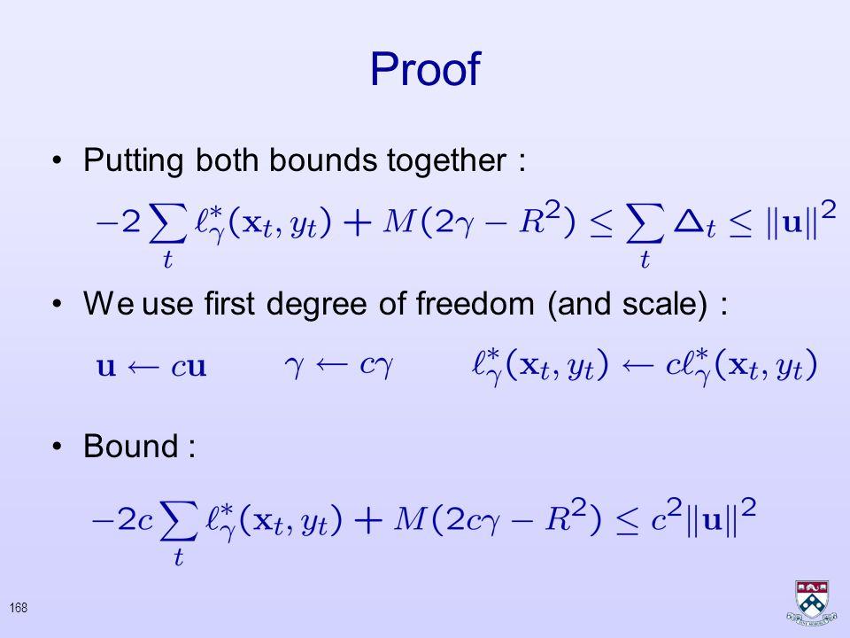 167 Proof Bound From Below : –No error on t th round –Error on t th round Cumulative bound :