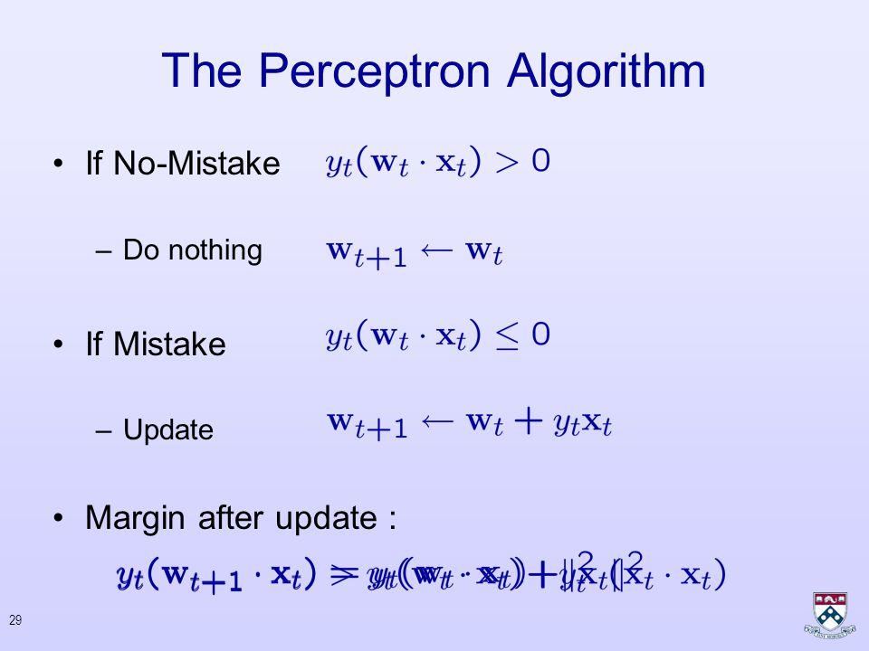 28 Three Update Rules The Perceptron Algorithm : –Agmon 1954; Rosenblatt 1952-1962, Block 1962, Novikoff 1962, Minsky & Papert 1969, Freund & Schapire 1999, Blum & Dunagan 2002 Hildreth's Algorithm : –Hildreth 1957 –Censor & Zenios 1997 –Herbster 2002 Loss Scaled : –Crammer & Singer 2001, 2002