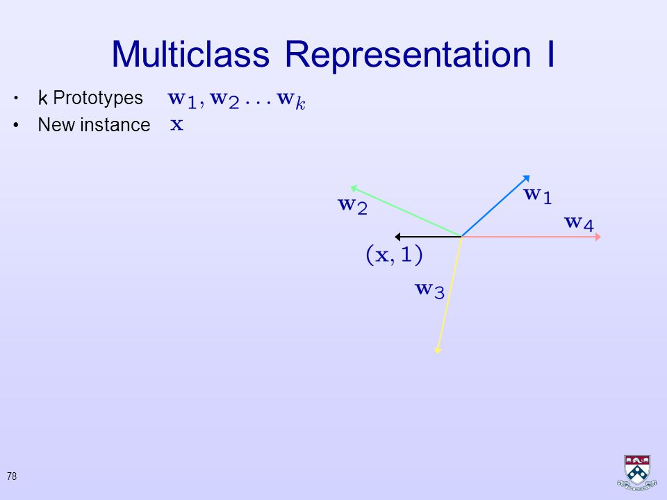 77 Multiclass Representation I k Prototypes