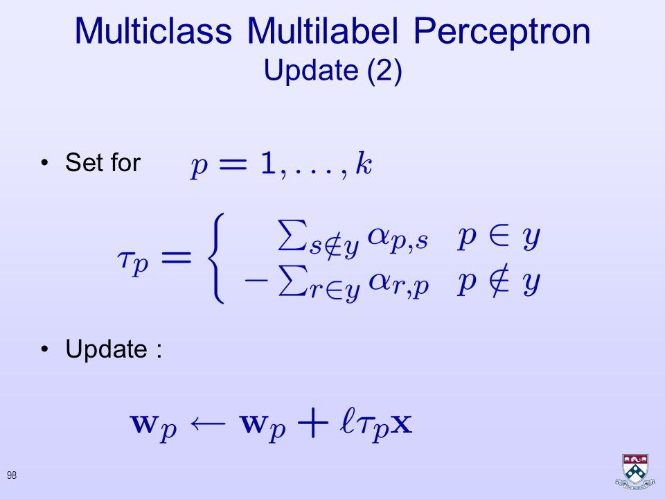 97 Multiclass Multilabel Perceptron Update (1) 000 1-a0a 2 3 145